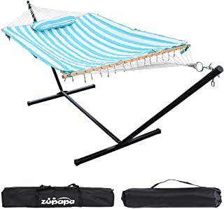 Zupapa Cotton Rope Hammock with Stand 400lbs Capacity, Indoor Outdoor Use 12 Feet Hammock Stand Spreader Bar Hammock Pad and Pillow Combo 2 Storage Bags Included
