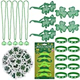 【Super Cost-effective】104pcs, including 72pcs St Patricks Day Face Stickers,5pcs Glasses, 12pcs Beards, 5pcs Necklaces and 10pcs Shamrock Bracelets 【Distinctive St. Patricks Day Decoration】Suffused with characteristic Irish style. These can make your...