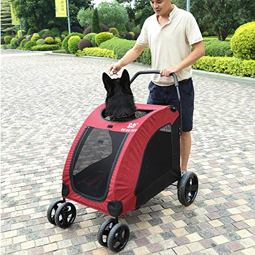 Paw Essentials JX-057 Expedition Pet Stroller for Cats and Dogs - up to 90lbs (RED)