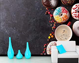 Wallpaper Pastry Donuts Coffee Candy Cup Baking Food Wallpaper 3D Living Room Sofa Tv Wall Kitchen Bar Cafe Bakery Murals,150Cmx105Cm