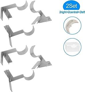 Yoaokiy 2Set(6Pcs) Single Curtain Rod Brackets, Adjustable No Drill Curtain Rod Brackets, Tap Right Into Window Frame(Silver)