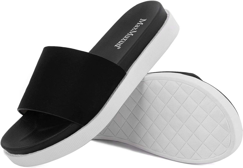 MaxMuxun Women's Footbed Slides Sandals Comfort Slip On Indoor O