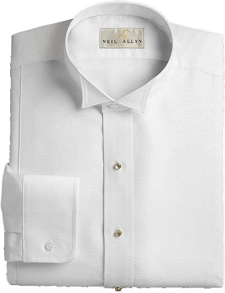 Pique trust Wing Collar Tuxedo Shirt White 34 35 x Super intense SALE L