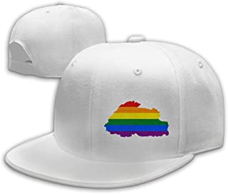 Unisex LGBT Flag Map of Bhutan Baseball Cap Adjustable Snapback Hip Hop Hat