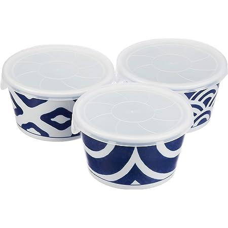 西海陶器(Saikaitoki) 小鉢 3柄組 340ml インディゴクラシック 小鉢(フタ3個付・3柄組)藍色、白鉢のみ/約径10.8×高6.0cm、蓋セット:約径11.3×最大幅11.5×高6.3cm