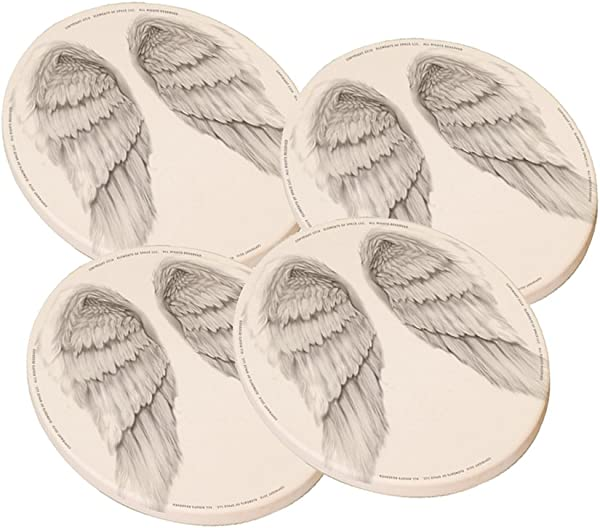 Angel Wings Round Sandstone Drink Coaster Set Of 4 By Elements Of Space