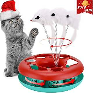 Cat Interactive Toys Roller Catch Ball Pet Kitten Fun Toy with Teaser Mouse Exercise Puzzle