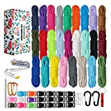 Paracord 550 Combo Crafting Kits - Survival Paracord Bracelet Rope Kits - Tent Rope Parachute Cord with Soft Tape Measure, Buckles, Carabiner, and Key Rings - Great Gift (SUMMER - 10FT/Each Color)