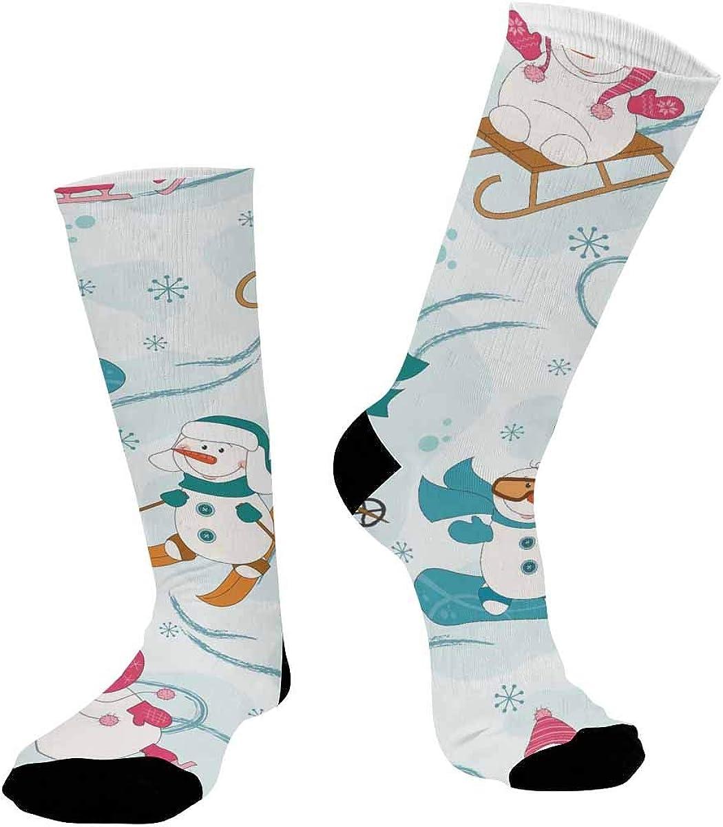 INTERESTPRINT Casual Sublimated Crew Socks Unisex Winter Sport Snowman