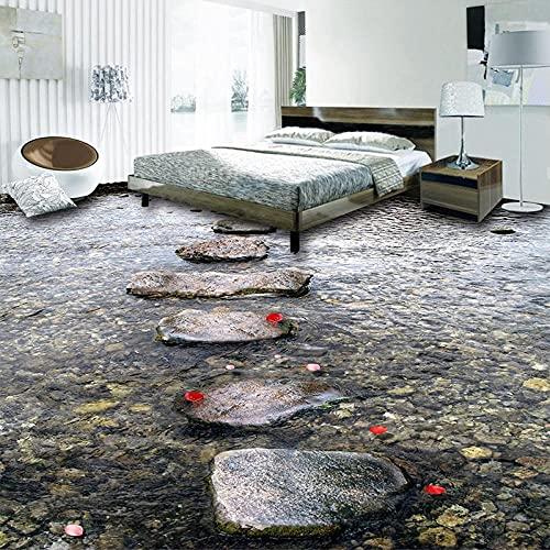 Murales de suelo personalizados Stone Road Creek Water Azulejos de suelo 3D Sala de estar Cocina Baño Papel tapiz de vinilo Decoración impermeable para el hogar-350x245cm