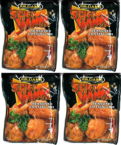 Williams Spicy Wings Seasoned Coating Mix - Spicy HOT - 5 Oz (4-Pack)