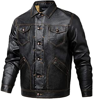 BaronHong Vintage PU Leather Jacket Mens Winter Casual Motorcycle Faux Leather Jackets Coat
