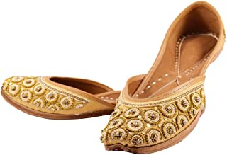 Indian Ethnic Jutti Pump Shoes Ballet Flats Embroidered Jutti Traditional Shoes Casual Flats for Women and Ladies (9) Golden