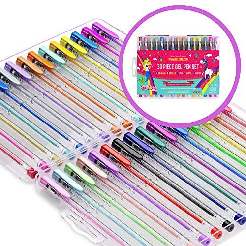GirlZone Regalos para Niñas - Bolígrafos De Gel - Set De 30 Bolis De Tinta De Gel De Colores...