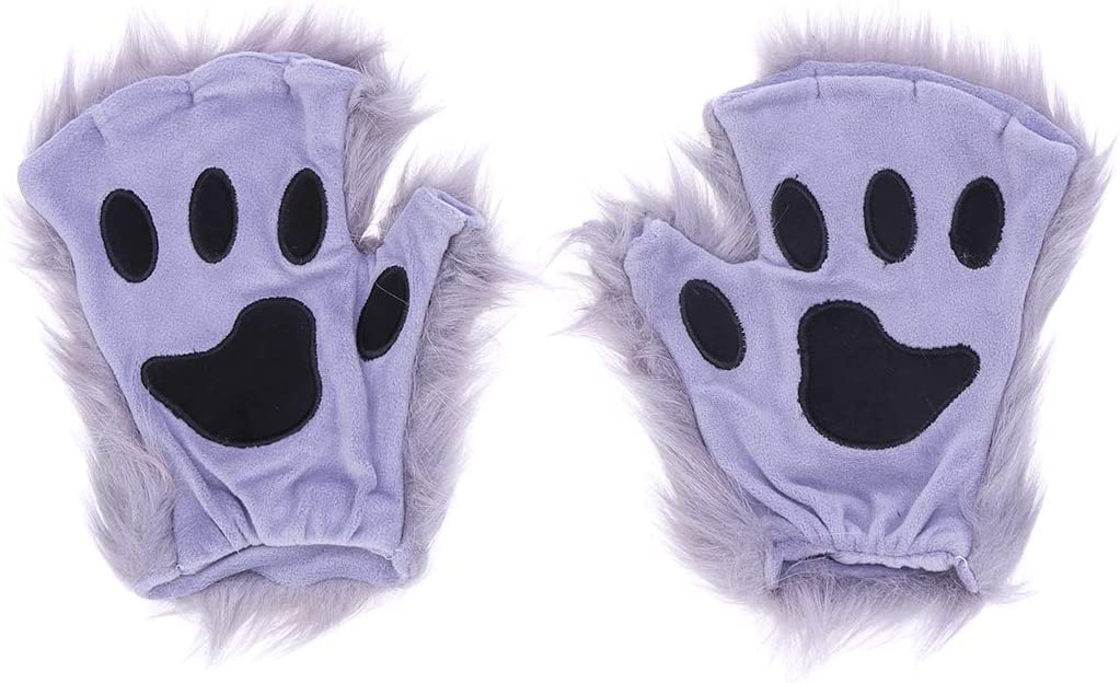 Amosfun A Pair of Grey Halloween Faux Fur Long- haired Animal Gloves Animal Paws Mittens Winter Warm Half- finger Gloves