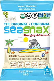 SeaSnax Organic Extra Virgin Olive Oil Roasted Seaweed Snack ORIGINAL Olive Oil G&G 0.18 oz - 72 Count Seaweed Snacks With the Salty Crunch of Chips