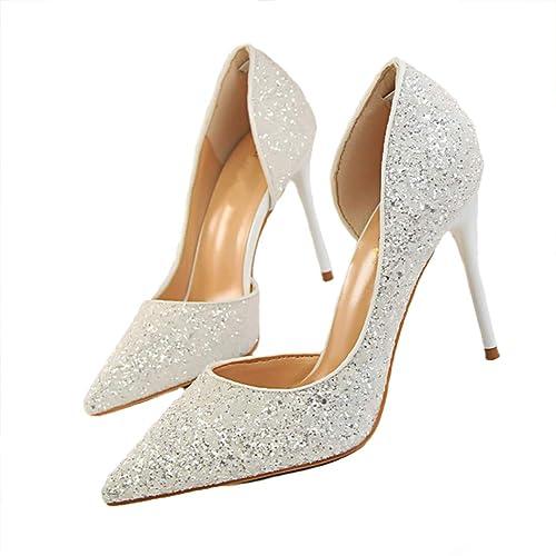 2030051de6add3 HANMAX Escarpin de Mariage Femme à Talons Haut Pailleté Chaussures de  Soirée Cocktail Mariée en Cristal