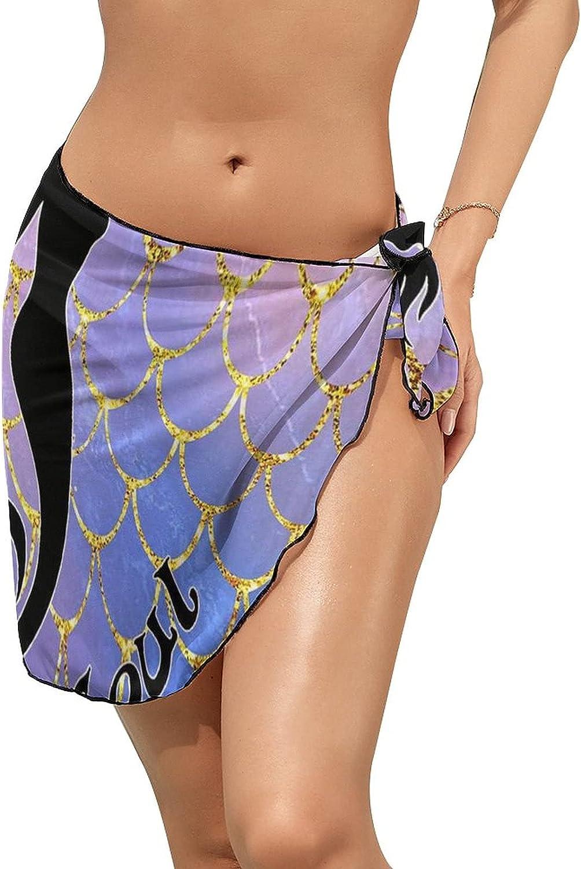 Women Beach Wrap Skirts Mermaid Soul Scales Personalized Bikini Swimwear Beach Cover Up