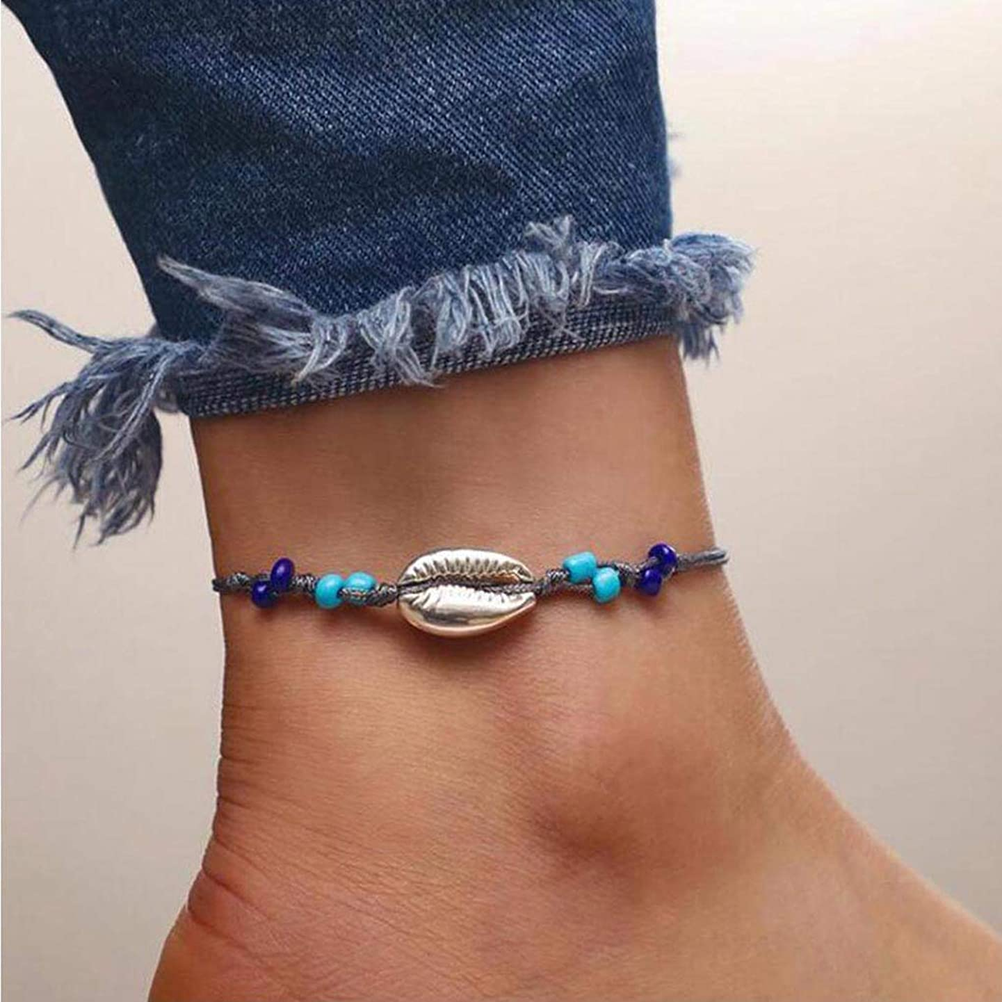 Yalice Boho Conch Shell Anklet Silver Cowrie Rope Ankle Bracelet Beach Foot Chain for Women and Girls