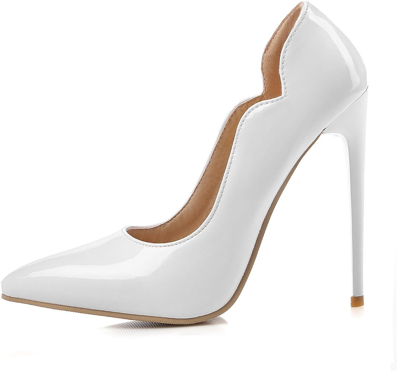 LIANGXIE Frühling und Sommer Cross-Country-Schuhe für Lackleder Wies Hochhackige Schuhe Sexy Flachen Mund Schuhe Xiaoqi