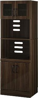 ぼん家具 キッチンキャビネット 幅60×奥45×高178cm レンジ台 食器棚 収納 ウォールナット