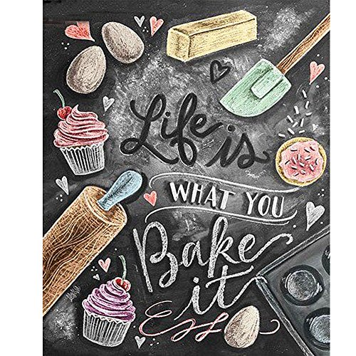 TWBB 5D DIY Diamond Painting Kit for Adult Full Drill Diamond Painting Sets,Blackboard Newspaper Style,10 x 12 inch (Bakeit Pattern)