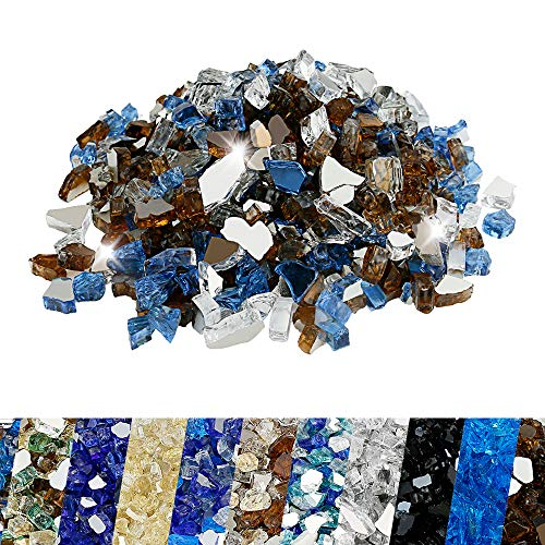 Utheer Fire Glass Blended Pacific Blue, Platinum, Copper Reflective 9.5-Pound 1/2 Inch for Indoor Outdoor Fireplaces/Fire Pits/Fire Bowls/Vase Fillers/Garden Landscape Decorative