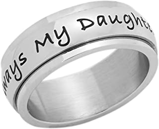 7mm Stainless Steel Women's Spinner Ring - Always My Daughter Forever My Friend Daughter's Ring, Fidget Spinner Anxiety & Stress Relief, Size 6 to 9