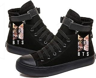 HJJ Kpop BTS, zapatillas de lona con cordones de alta parte superior, estilo hip-hop, botas de béisbol con cordones, suela...
