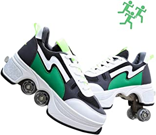 YZJYB - Patines de verano unisex automáticos, transpirables, con ruedas, para deformación, patines de doble fila, patinaje, para adultos, niños, regalo para principiantes