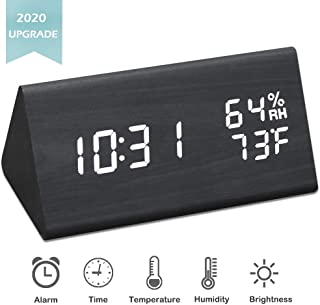 JCHORNOR Digital Alarm Clock,Wood Alarm Clock Digital Led with USB Charger,Dual Temperature & Humidity Detect in Adjustable White Brightness Desk Clock for Kids,Bedroom,Office-Black
