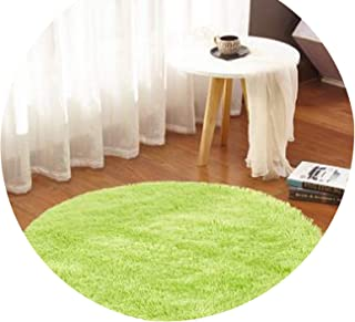 Fluffy Round Carpet Non-Slip Shower Bedroom Mat Door Floor Carpet Faux Fur Area Rug Home Textile,Fruit Green,Diameter 60cm