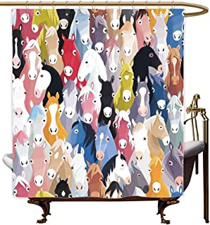 MaryMunger Womens Shower Curtain Abstract Home Decor Pattern with Colourful Cartoon Horses Pony Childhood Childish Artwork for Master, Kid's, Guest Bathroom W72x84L