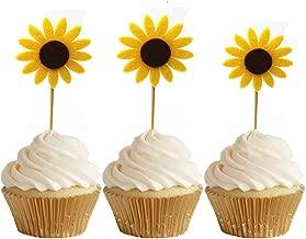 GEORLD 24pcs Sunflower Cupcake Toppers Party Picks Cake Sun Flower Decoration