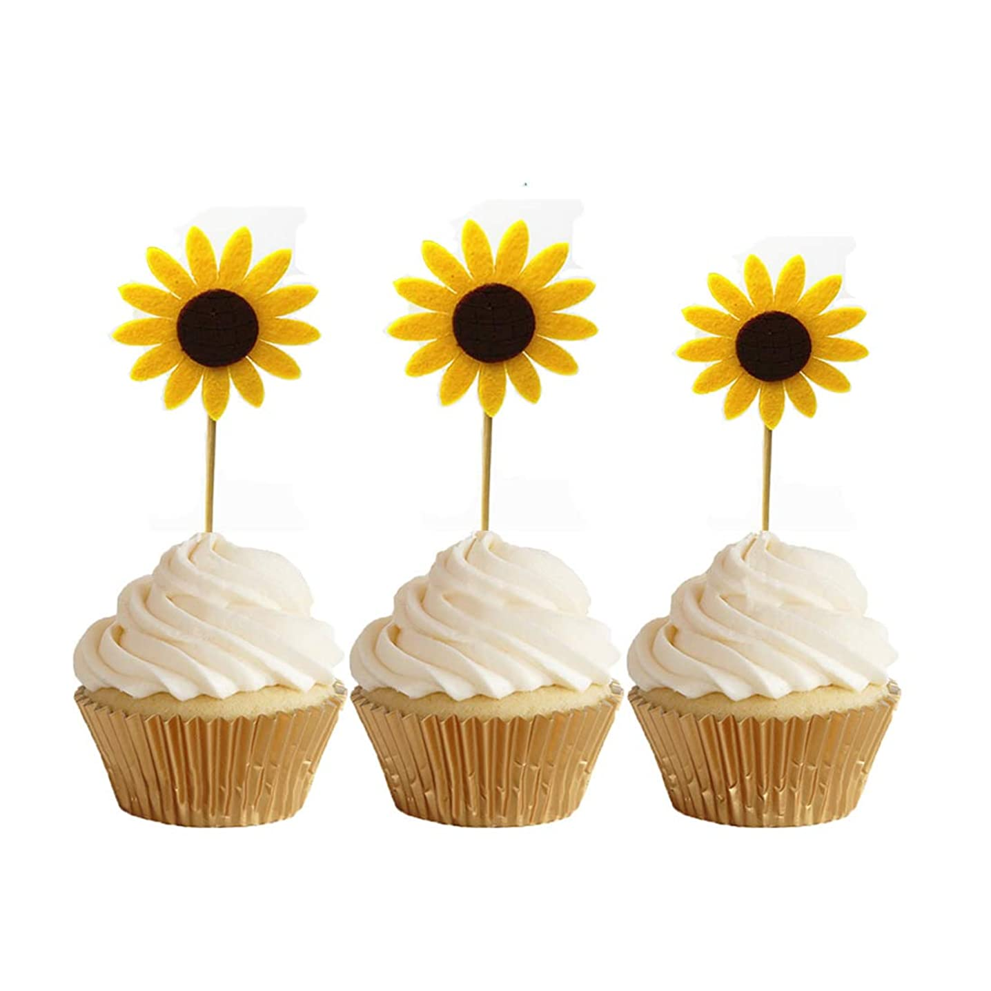 GEORLD 24pcs Sunflower Cupcake Toppers Party Picks Cake Sun Flower Decoration