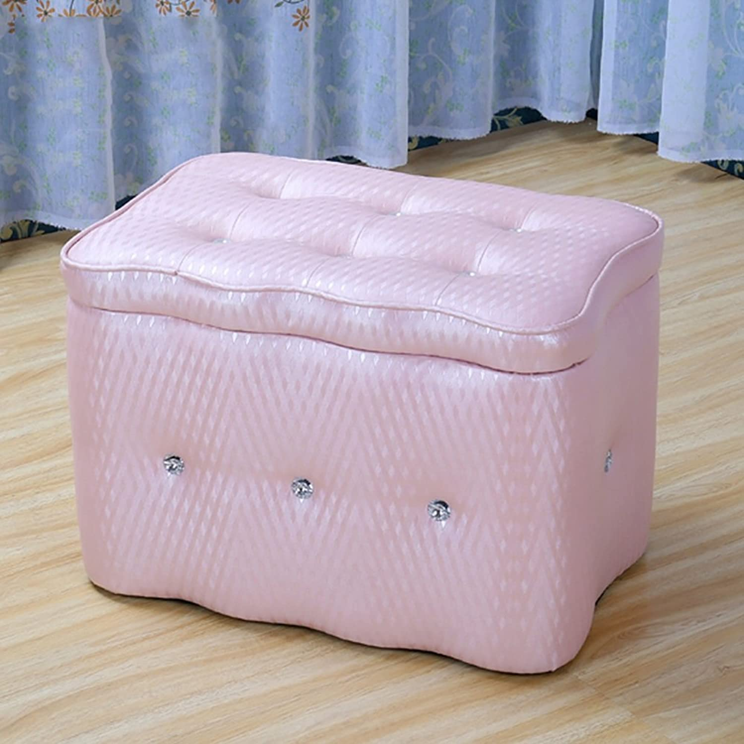 LJHA ertongcanyi Creative colord Footstool Hall Changing His shoes Stool shoes Store Storage Box Rectangular Solid Wood Sofa Stool (color   Pink, Size   50  30  32cm)