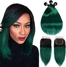 SEXAY Brazilian Virgin Straight Hair Bundles with Closure, 1B/Green Two Tone Ombre Brazilian Straight Hair Weave 3 Bundles With Free Part 4x4 Lace Closure (10'' 12'' 14''+10'', 1B/Green)