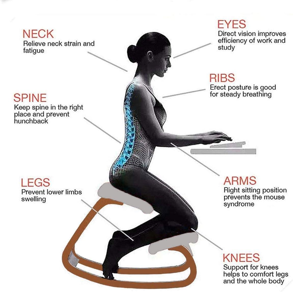 SMLZV Genoux Chaise, Chaise Design ergonomique, Chaise à bascule en bois for Back Pain Relief, Chaise de bureau Tabouret confortable for Body Shaping (Color : B) B