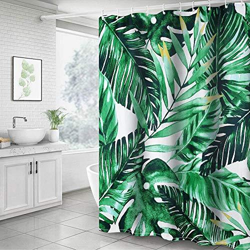 Cysincos Duschvorhang Textil, Blätter Blumen 180x180cm, Wasserdicht Badewannen Vorhang, Digitaldruck Wannenvorhang, Polyester Badvorhang mit 12 Duschvorhangringen