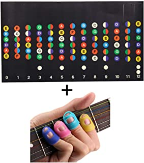 FIVE BEE Guitar Training Set- Includes 2pcs Color Coded Fretboard Fret Map Note Stickers and 12pcs Guitar Finger Protectors for Beginner/Learning Guitar | Standard Edition