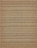 Unique Loom Outdoor Modern Collection Geometric Striped Abstract Transitional Indoor and Outdoor Flatweave Light Brown Area Rug (9' 0 x 12' 0)