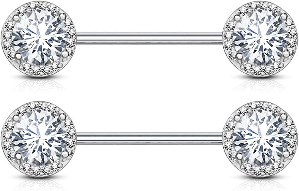 Forbidden Body Jewelry Fancy CZ Halo Frame Surgical Steel Nipple Barbells Set