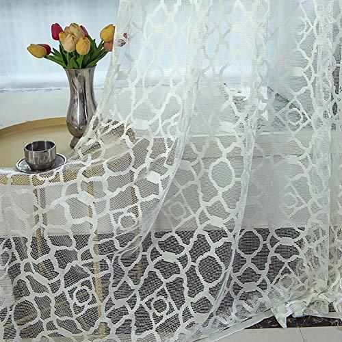 HM&DX Jacquard Halb Schiere Vorhang ösen,modern Dekorative Fenster Vorhang,1 Panel Lichtfilterung Tüll-vorhänge Wohnzimmer Weiß 300x270cm(118x106in)