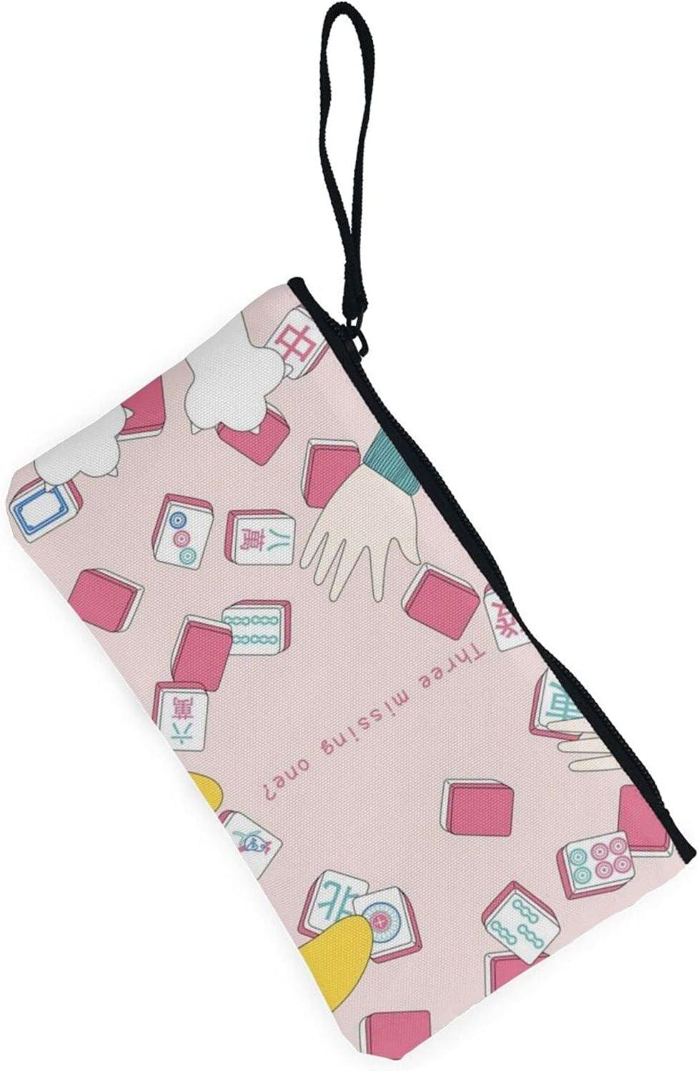 AORRUAM Mahjong human hand cat Canvas Coin Purse,Canvas Zipper Pencil Cases,Canvas Change Purse Pouch Mini Wallet Coin Bag