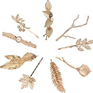 9 Pack Gold Vintage Retro Geometric Minimalist Branch Leaf Flower Hair Clip Snap Barrette Comb Stick Claw Crab Clamp Bobby Pins Alligator Hairclips Metal Wedding Party Hair Styling Accessories
