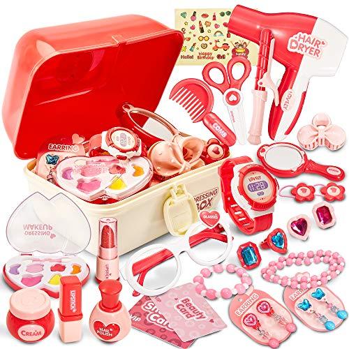 HERSITY 29 Piezas Maleta de Maquillaje Belleza y Peluqueria Juguete de Joyería Juego de Imitación Regalo de Princesa para Niños Niñas