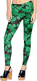 Green Clover Pattern Stretchy Leggings for Women Black Shamrock Skinny Pants