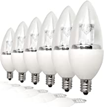 TCP LDCT25W27K6 25W Equivalent LED Decorative Torpedo Light Bulbs, Small Candelabra Based, Energy Star Certified, Dimmable, Soft White (6 Pack)