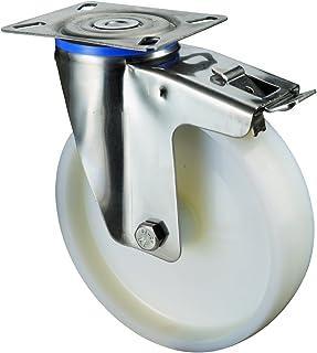 BS wielen H120.A90.200 RVS wiel, zwenkwiel met vastzetter, Ø 200 mm, schroefplaat, kunststof wiel