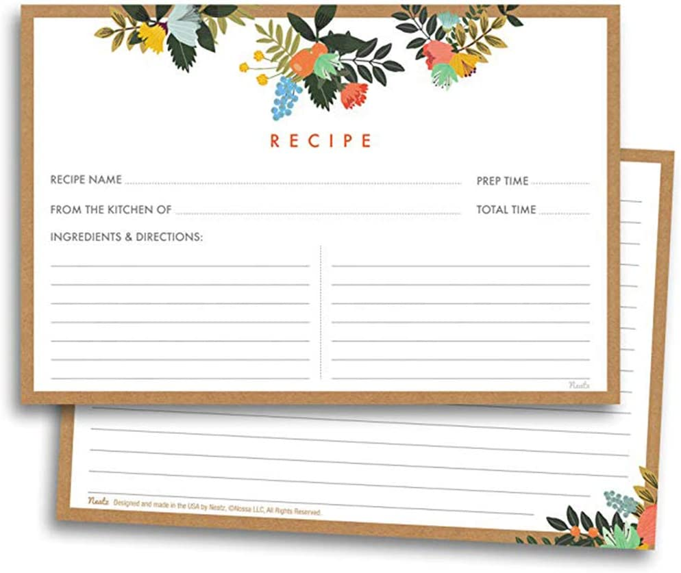 50 Sheet Floral Recipe Cards Double Sided Cards 4x5.6 inches car